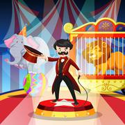 Ring master and animal show Stock Illustration