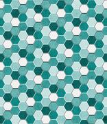 Teal, Black and White Hexagon Mosaic Abstract Geometric Design Tile Pattern R - stock illustration