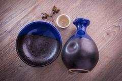 Japanese Sake drinking set - stock photo