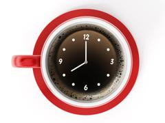 Clock on coffe cup Stock Illustration