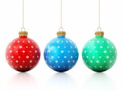 Multi-colored Christmas baubles Stock Illustration