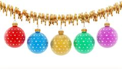 Multi-colored Christmas baubles - stock illustration