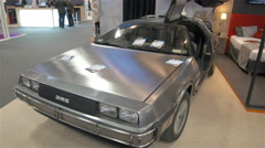 Delorean Dmc Car, Inspired By The Movie Back To The Future In An Indoor Show - stock footage