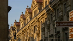 Sunshine on an old building in Prague Stock Footage