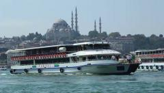 Ferries cross the Bosphorus by Golden Horn region of Istanbul - stock footage