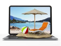 Beach on laptop keyboard - stock illustration