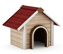 Doghouse with red roof - stock illustration