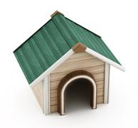 Doghouse with green roof - stock illustration