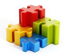 Multi colored puzzle pieces Stock Illustration