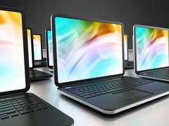 Stock Illustration of Laptop computers in a row