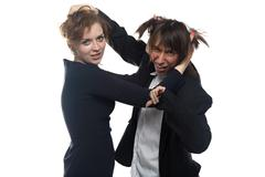 Woman and sad man in black jacket holding her hair - stock photo