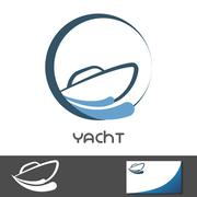 Yacht symbol icon. Boat in water waves Piirros