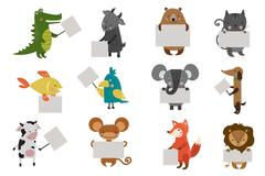 Wild animal zoo with clean plate vector icons set - stock illustration