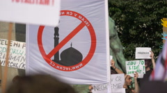 Holding flags and protest boards in Prague Stock Footage