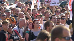 People applauding at a gathering in Prague Stock Footage
