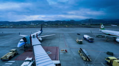 4K Time-lapse Airport Gate and Jetliner,Taiwan Stock Footage