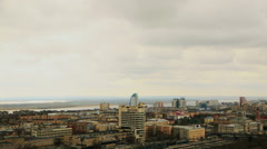 Volgograd Cityscape with roofs of houses and river timelapse Stock Footage