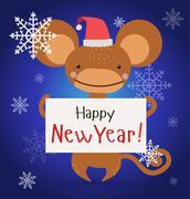 New Year Christmas monkey ape wild cartoon animal holding 2016 board vector Stock Illustration
