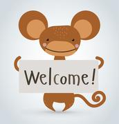 Monkey ape wild cartoon animal holding clean welcome board vector - stock illustration