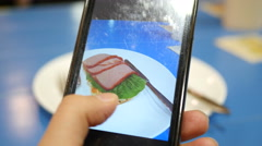 Take a pic shot of food sandwich via smart phone for instagram Stock Footage