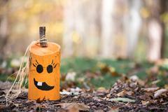 Unique Hand Painted Jack-o-Lantern on Leaves - stock photo