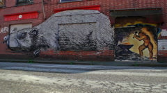 Graffiti of Smith and Rat on deserted Shops - Editorial - 29,97FPS NTSC Stock Footage