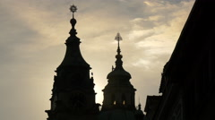 Birds flying near St Nicholas Church at dusk, Prague Stock Footage