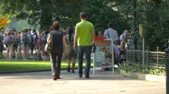 Tourists gathered in a park in Prague Stock Footage