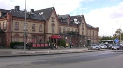 Varberg train station building Stock Footage