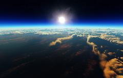 Earth sunrise from outer space - stock illustration