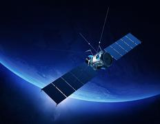 Communications satellite orbiting earth Stock Illustration
