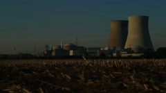 Late Sunset Nuclear Power Plant - Editorial - 29,97FPS NTSC Stock Footage