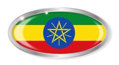 Ethiopia Flag Oval Button Stock Illustration