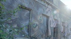 Sun Shining Graffiti Monkey Deserted Building - Editorial - 25FPS PAL Stock Footage