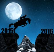 The rider on the horse jumping into the New Year 2016 Stock Illustration