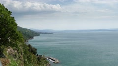 Green coastline of Trieste, Italy Stock Footage