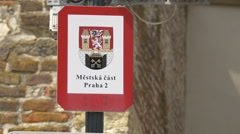 Praha 2 district sign in Prague Stock Footage