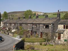 Terraced Stone Cottages in northern England Stock Photos