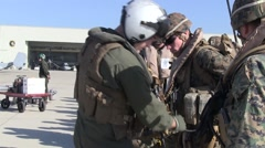 USMC: Gear is Checked before Flight - stock footage