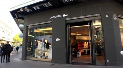 Lacoste Outlet Shop in the center of Paris. 4K. Stock Footage