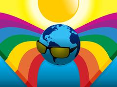 Planet Earth with sunglasses on crossing rainbows Stock Illustration