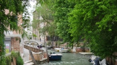 Small Venetian canal water street Stock Footage