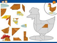 cartoon hen jigsaw puzzle task - stock illustration