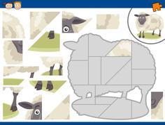 cartoon sheep jigsaw puzzle task - stock illustration