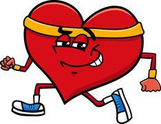 Stock Illustration of sporty heart cartoon character