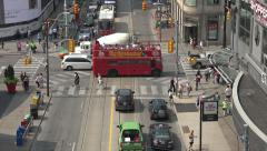 Tourist bus at Dundas and Yonge Streets, Toronto, Canada Stock Footage
