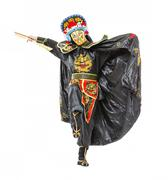 Man in Samurai Decorated Costume with Fan - stock photo