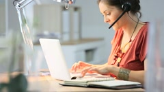 Telemarking assistant woman working from home Stock Footage