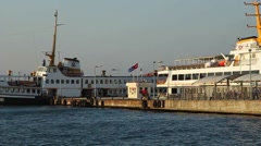 A passenger ferry docked at an old port near Istanbul Stock Footage