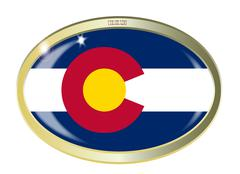 Colorado State Flag Oval Button Stock Illustration